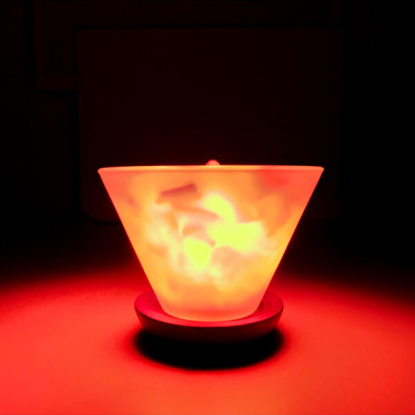 Соляная лампа Стеклянная ВАЗА с камнями